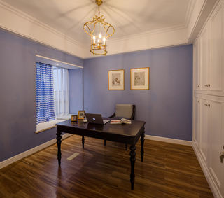 浪漫紫美式简约风书房设计