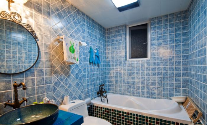 深蓝色地中海风格三室两厅室内设计装潢美图欣赏