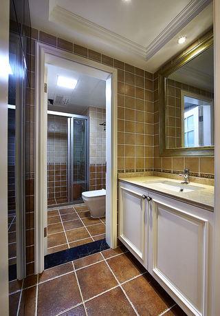 咖色系复古简美式卫生间干湿干区设计