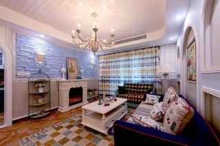 唯美清新地中海风情客厅背景墙装饰效果图