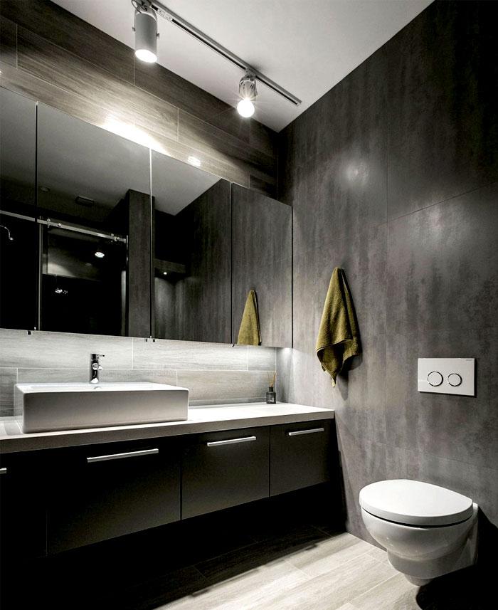 黑色系现代工业风卫生间设计