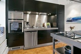 時尚簡約現代 廚房黑色櫥柜裝飾圖