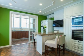 乡村美式田园风厨房吧台绿色隔断设计
