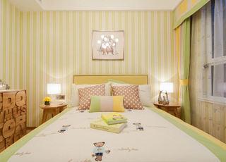 甜美淡黄色简欧卧室竖条纹背景墙装饰