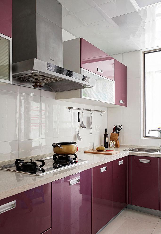 时尚现代简约风厨房暗紫色橱柜设计