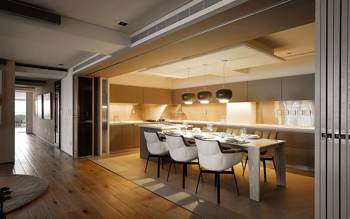 时尚现代餐厨房一体设计装修