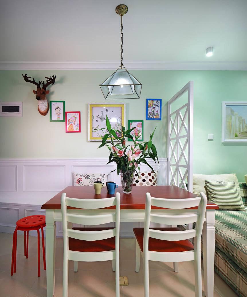 清新多彩田园风格餐厅客厅屏风隔断设计