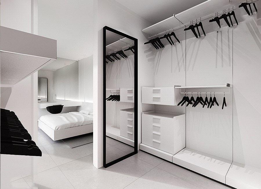 时尚黑白现代风衣帽间设计效果图