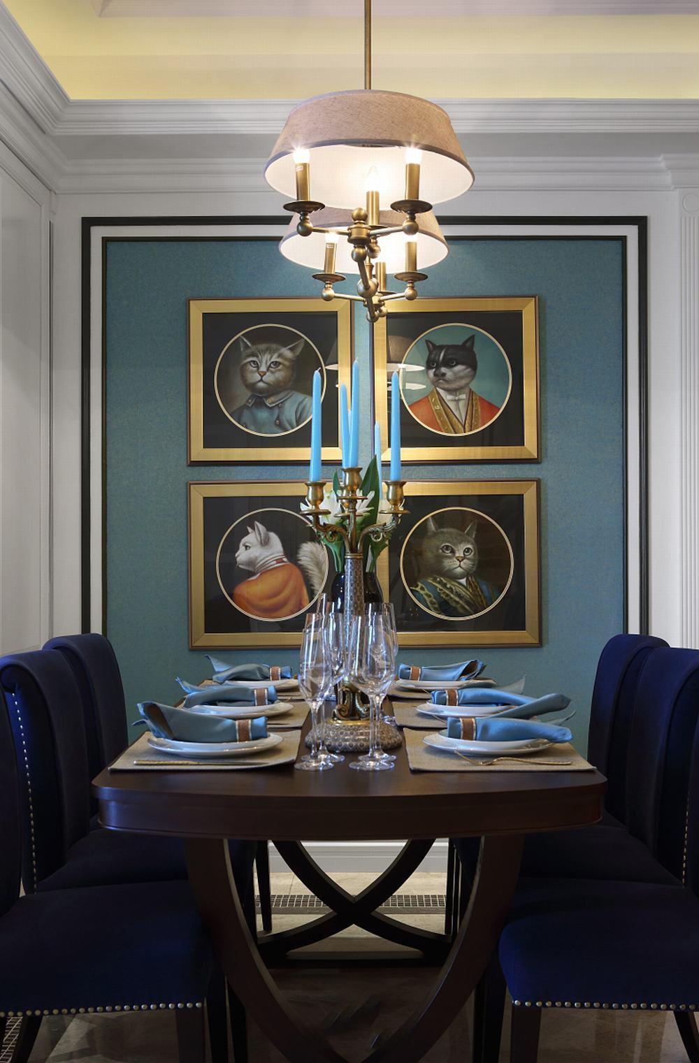 艺术美式新古典餐厅照片墙设计