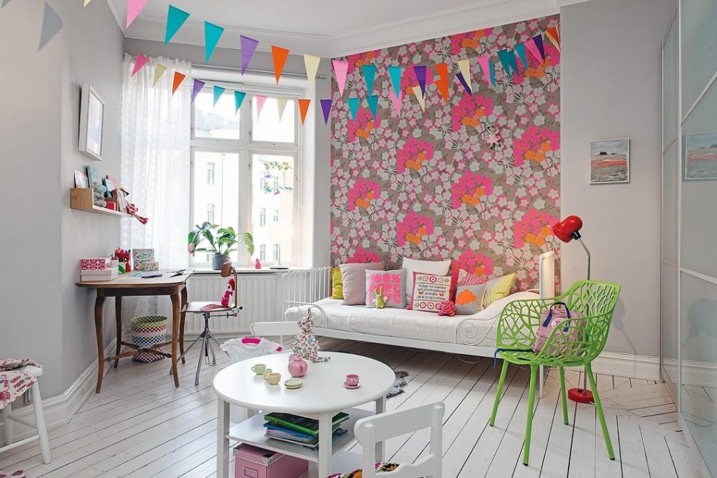 甜美可爱北欧风格儿童房背景墙布置