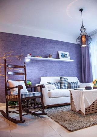 紫色优雅简约客厅沙发背景墙欣赏