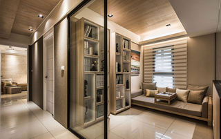 时尚浅咖现代风精装书房玻璃隔断设计