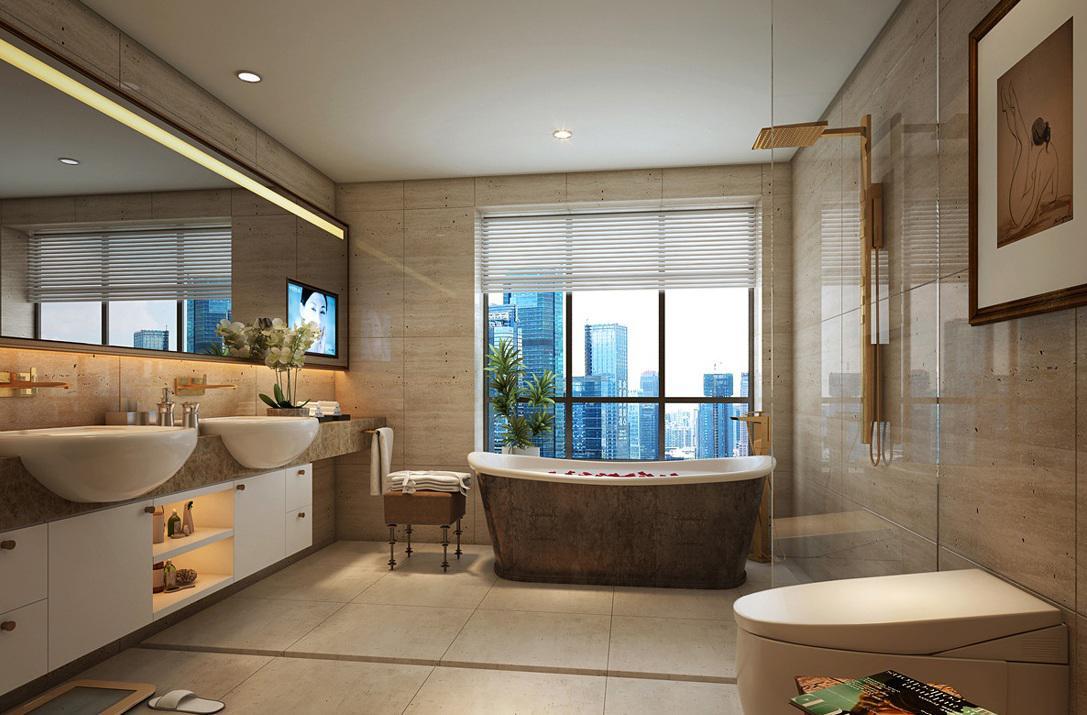 5平方奢华简约欧式洗手间浴缸设计