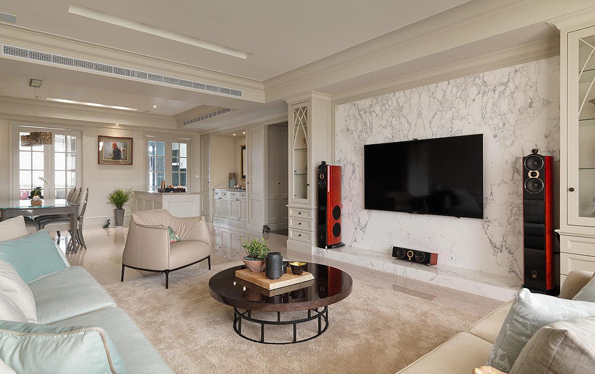 简约美式客厅大理石电视背景墙设计效果图