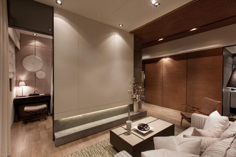 时尚简约现代日式客厅影视墙隔断装饰