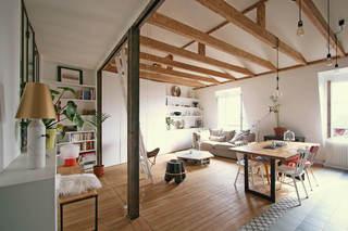 清新宜家风公寓客厅木质吊顶效果图