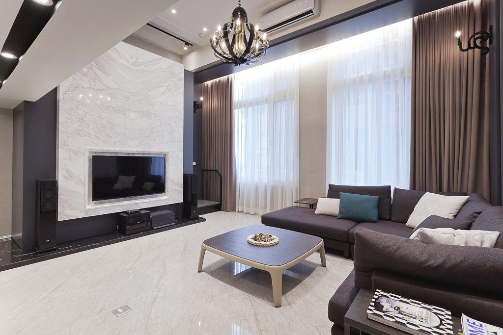 时尚现代都市风情挑高复式楼客厅电视背景墙装饰
