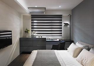 现代简约卧室百叶帘装饰图