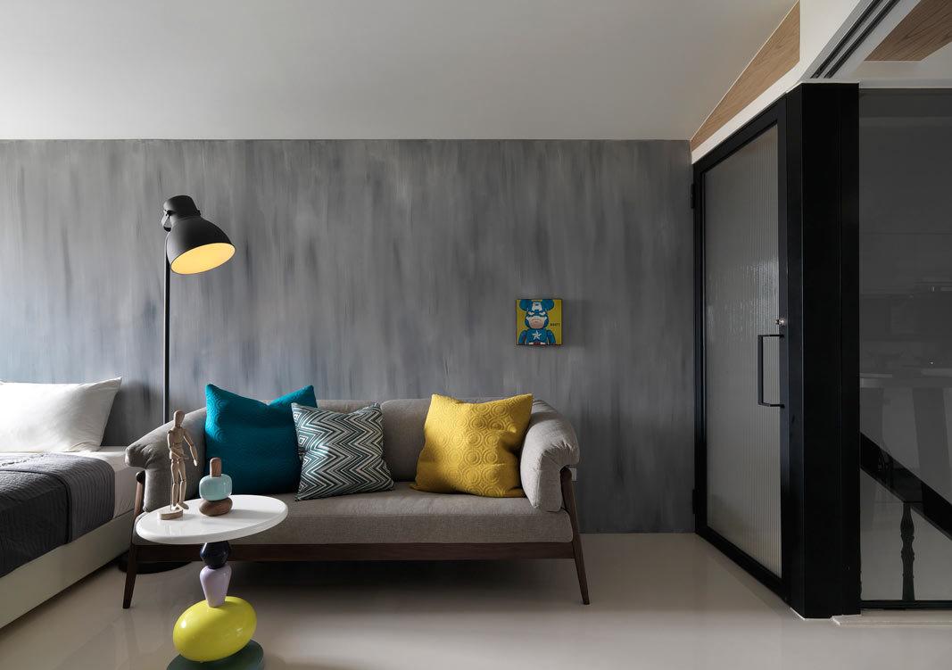 时尚黑色系现代复式公寓客厅装饰