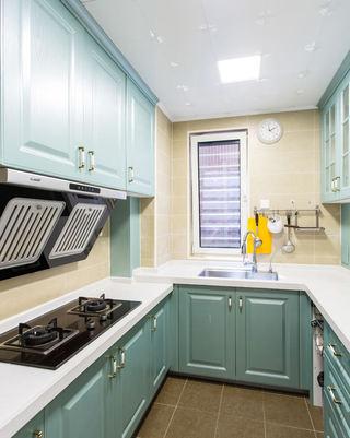 清新薄荷绿美式厨房橱柜设计