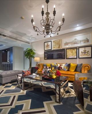 美式混搭风格客厅软装设计