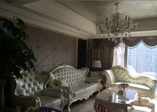 浅咖色欧式客厅背景墙装饰效果图
