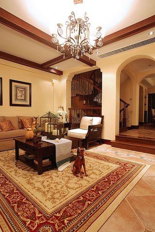温馨暖咖色实木复古美式别墅设计效果图