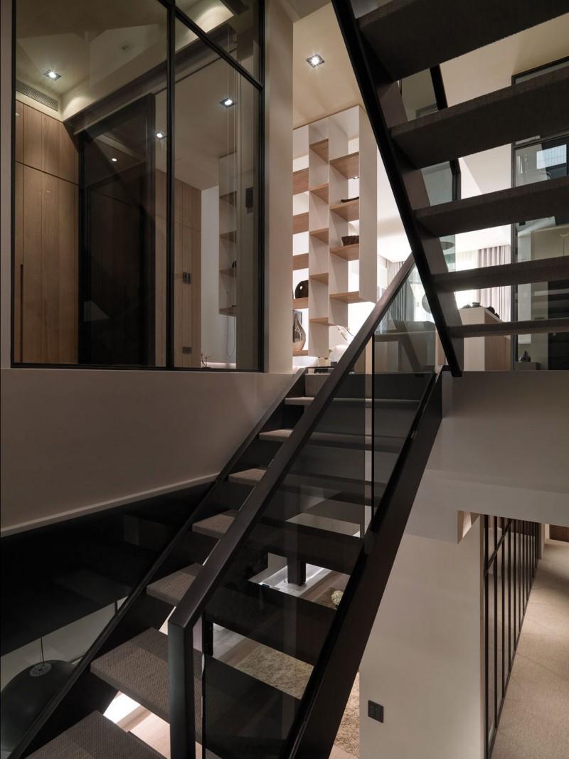 时尚黑色系现代工业风复式楼梯设计