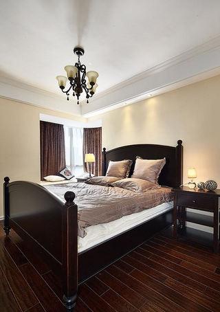 复古简约乡村美式风格卧室实木床效果图