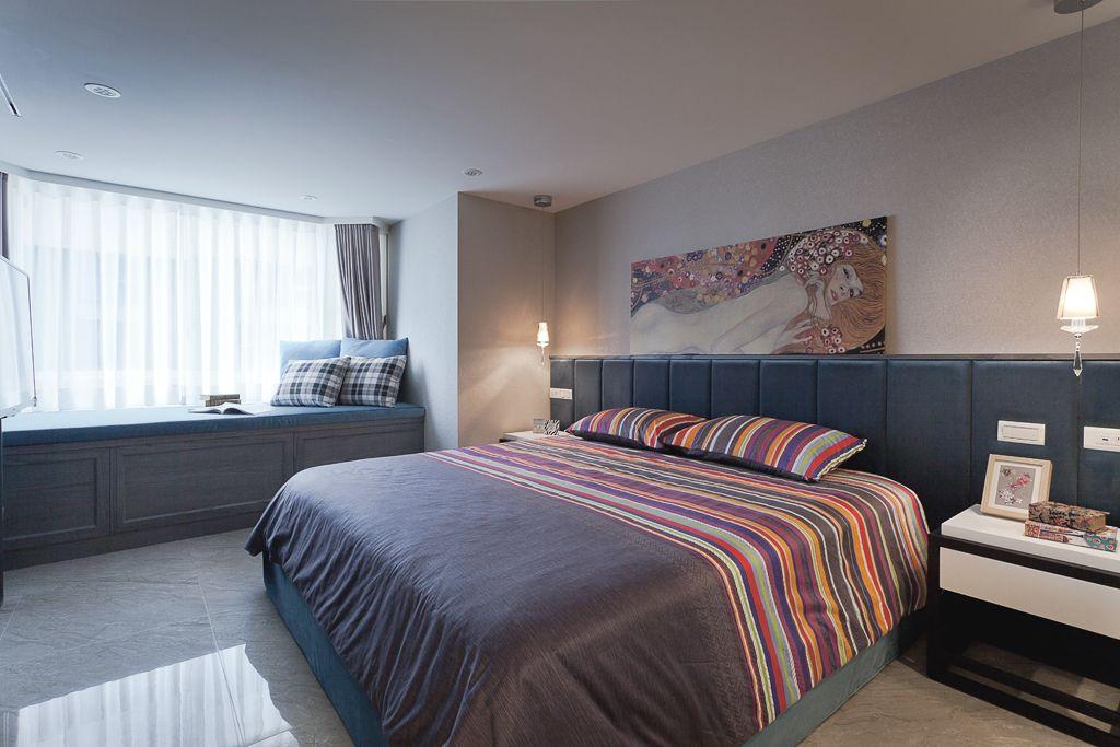 时尚简约复古风卧室带飘窗装饰设计