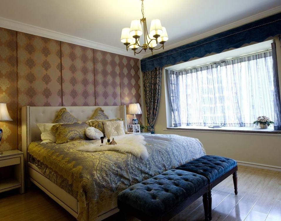 复古乡村美式卧室带飘窗背景墙装饰