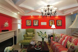 个性红色复古田园风混搭客厅背景墙装饰