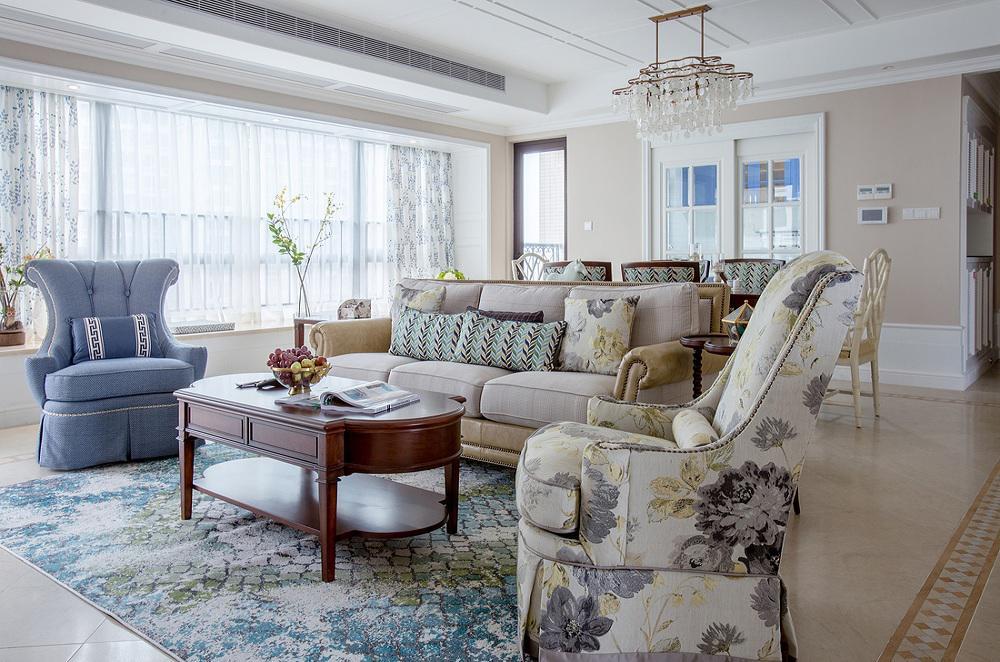 清新唯美简欧风客厅沙发装饰效果图