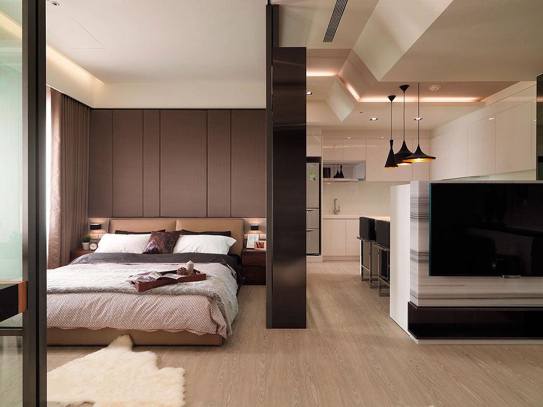 精致现代风卧室客厅隔断设计
