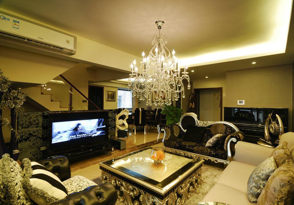 欧式新古典复式楼客厅装饰大全