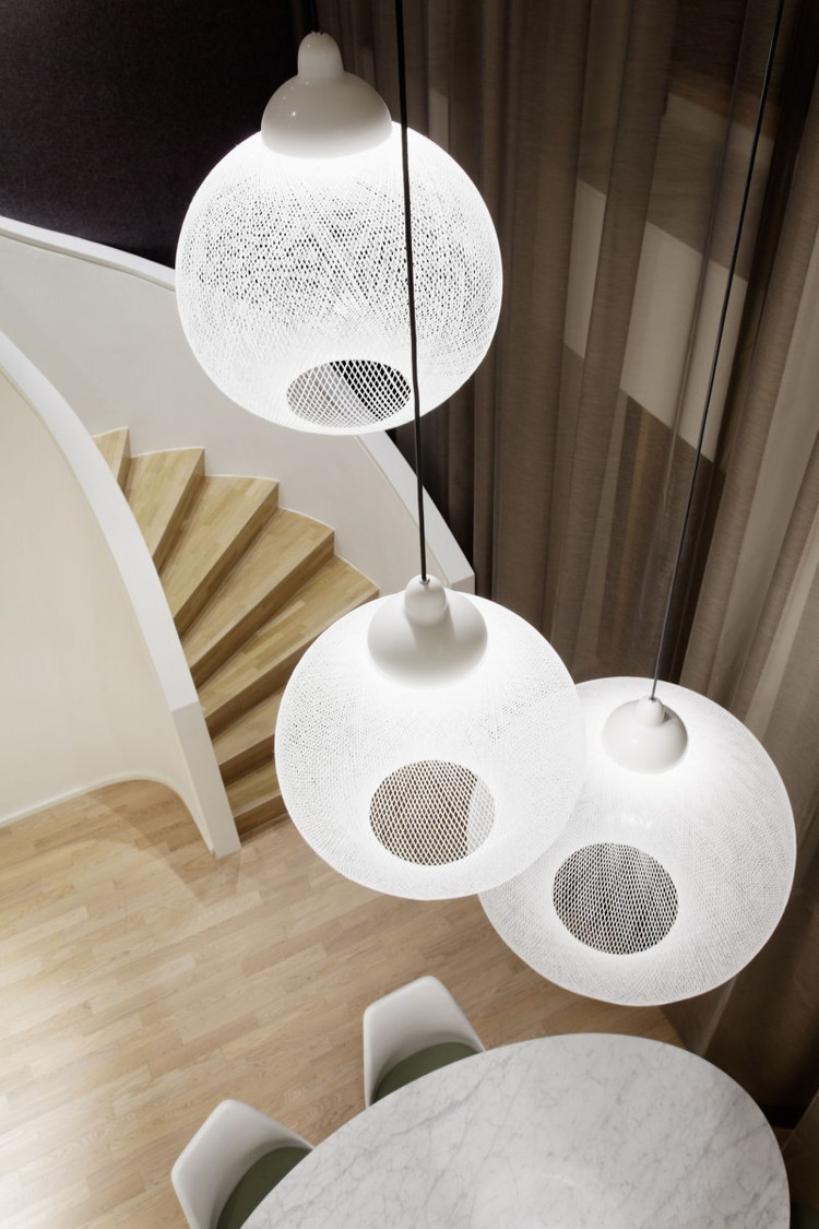 优雅浪漫现代极简主义复式楼吊灯设计