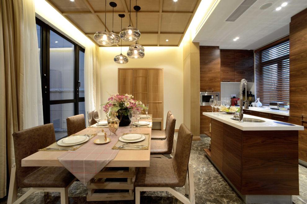 休闲实木北欧风餐厅厨房设计效果图