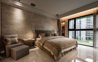 时尚浅咖色现代自然风卧室背景墙设计