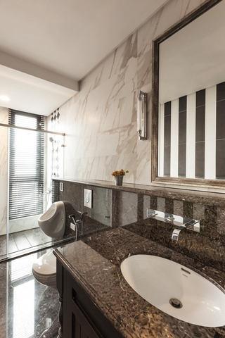 时尚高端咖色系现代卫生间大理石墙面设计