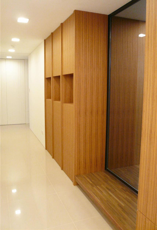 简约中式玄关过道实木鞋柜设计