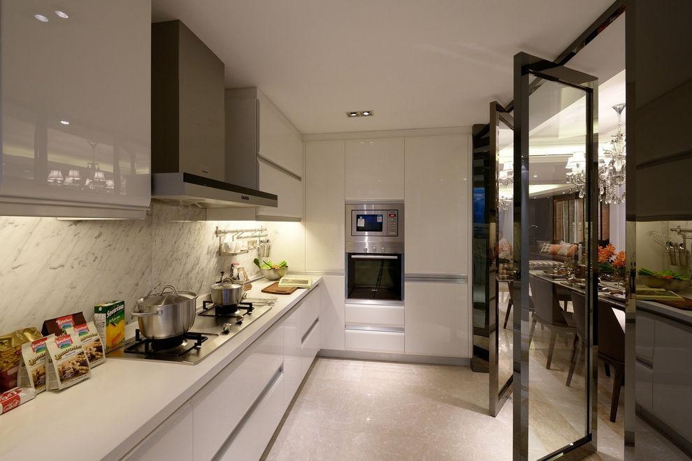 纯白时尚高端现代厨房智能橱柜效果图大全