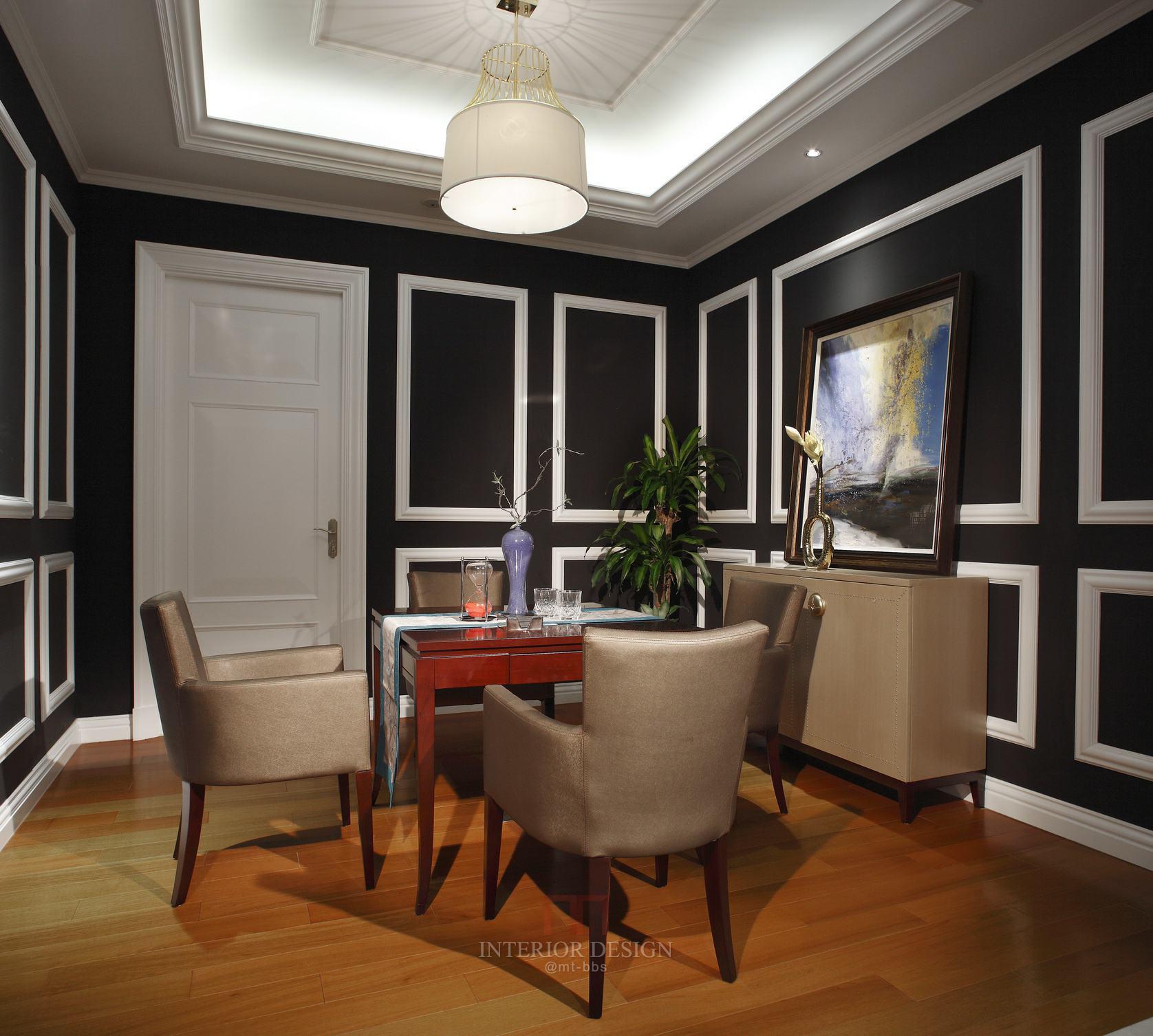 美式新古典混搭设计黑色餐厅背景墙装饰