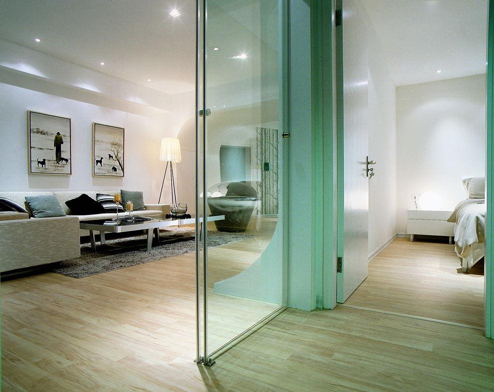 简约风客厅卧室绿色玻璃隔断设计