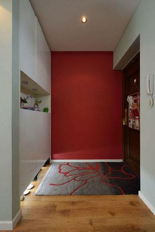 时尚现代设计家居玄关红色背景墙装饰效果图