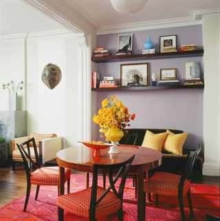 浪漫北欧风情餐厅淡紫色背景墙隔断设计