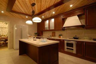 高端休闲田园风格实木厨房吊顶装饰