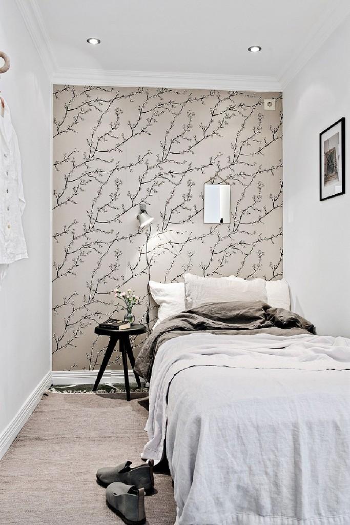 浪漫森系北欧风格卧室背景墙装潢设计