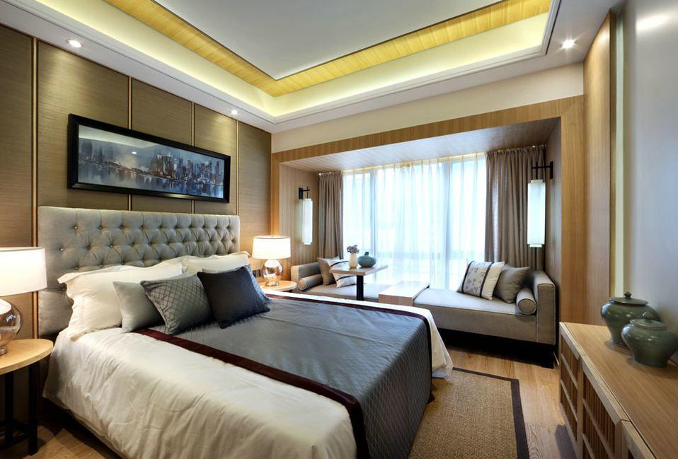 优雅大气新中式卧室带飘窗效果图
