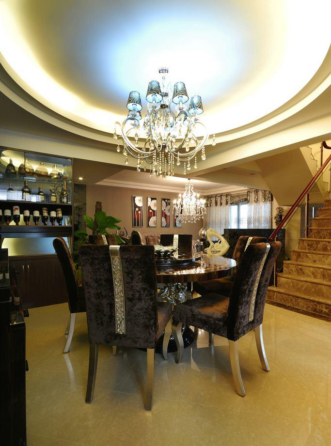 奢华精美欧式复式餐厅圆形大吊顶设计图