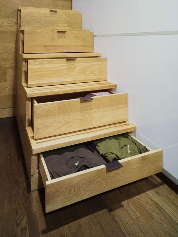 创意收纳复式楼 抽屉楼梯设计
